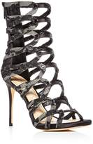 Imagine Vince Camuto Women's Dalany Satin & Lace Caged High Heel Booties