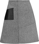 Sandro Janelle leather-paneled tweed mini skirt