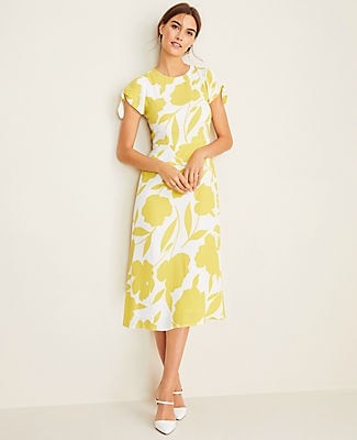 Ann Taylor Floral Tie Sleeve Flare Dress