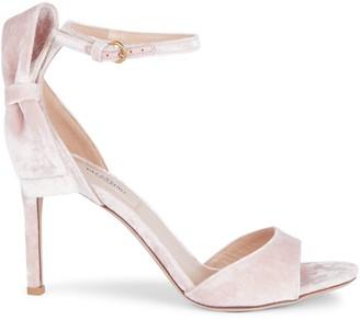 Valentino Bow Velvet Ankle-Strap Sandals