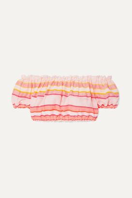 Lemlem + Net Sustain Eskedar Off-the-shoulder Striped Cotton-blend Gauze Top - Pink