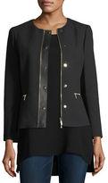 Lafayette 148 New York Kerrington Leather-Trim Jacket