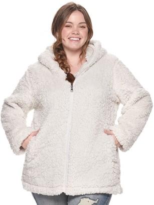 Steve Madden Juniors' Plus Size NYC Fleece Hooded Jacket