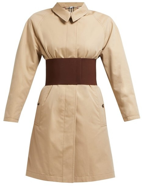 Burberry Single Breasted Cotton Gabardine Trench Coat - Womens - Beige