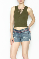 y&i clothing boutique Lace Up Crop Top