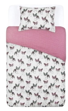 Tadpoles French Bulldog Comforter with Removable Cover Toddler Size 3 Piece Bedding Set Bedding