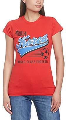 Football Fan Women's Korea Republic Script Regular Fit Short Sleeve T-Shirt, Red, Size 12 (Manufacturer Size: Medium)