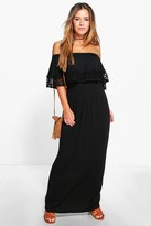 boohoo Petite Bardot Trim Detail Maxi Dress
