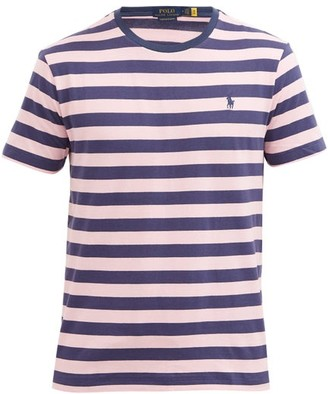 Polo Ralph Lauren Logo-embroidered Striped Cotton T-shirt - Pink Navy