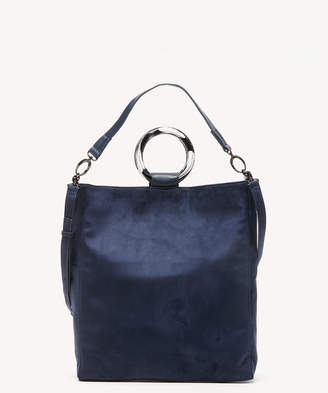 Sole Society Women's Jeanne Tote Faux Suede Navy Leather From