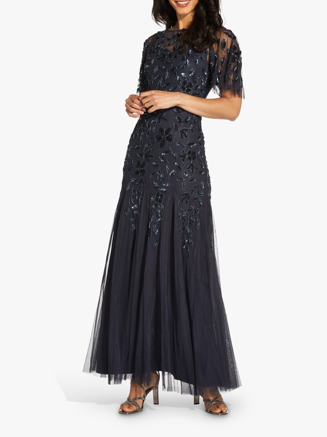 Adrianna Papell Beaded Embroidered Maxi Gown