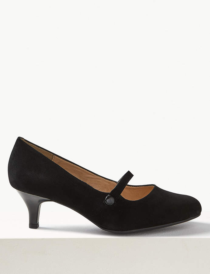 8bd13b55295 M&S CollectionMarks and Spencer Wide Fit Suede Kitten Heel Court Shoes