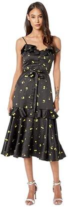 Milly Cherry Print on Stretch Satin Petal Dress (Black Multi) Women's Clothing