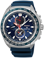 Seiko Ssc489p1 Prospex Chronograph World Time Rubber Strap Watch, Blue