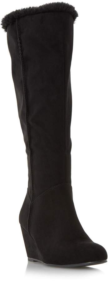Roberto Vianni TRUNDLE - Faux Fur Trim Wedge Knee High Boot