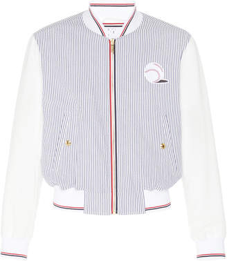 Thom Browne Embroidered Striped Cotton Bomber Jacket