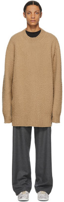 Maison Margiela Tan Wool Oversized Pilled Sweater