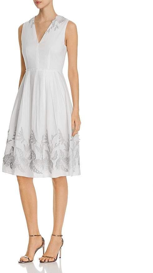Elie Tahari Astrid Fit-and-Flare Appliqué Dress