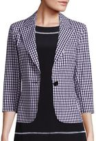 St. John Stretch-Cotton Gingham Blazer