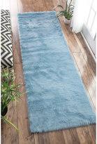 nuLoom Cozy Soft and Plush Faux Sheepskin Shag Kids Nursery Blue Runner Rug (2'6 x 8')