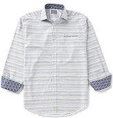 Thomas Dean Stripe Long-Sleeve Twill Woven Shirt