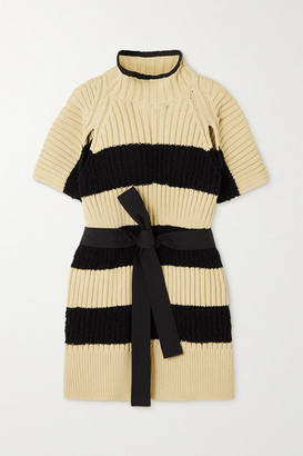 MONCLER GENIUS Belted Striped Ribbed Cotton-blend Poncho - Ivory