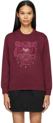 Kenzo Burgundy Velvet Tiger Head Sweatshirt
