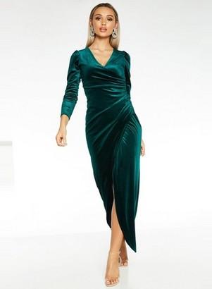Dorothy Perkins Womens *Quiz Green Velvet Wrap Maxi Dress, Green