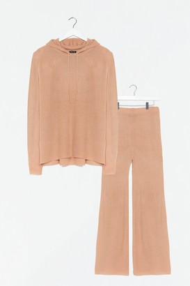 Nasty Gal Womens Make Knit Happen Plus Wide-Leg Pants Lounge Set - Camel
