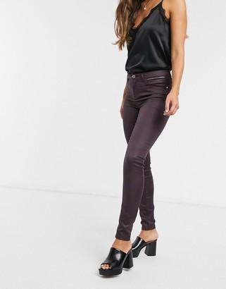 Morgan coated skinny jean in plum