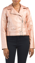 Juniors Metallic Faux Leather Jacket