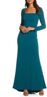 Brinker & Eliza Square Neck Long Sleeve Mermaid Gown