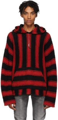 Amiri Black and Red Baja Pullover Hoodie