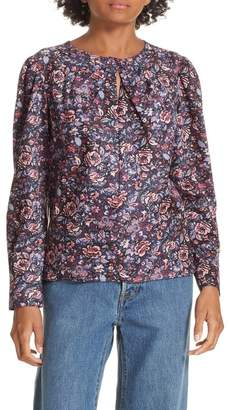 Rebecca Taylor Keyhole Neck Cotton Floral Blouse