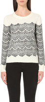 Maje Scalloped floral-lace knitted jumper