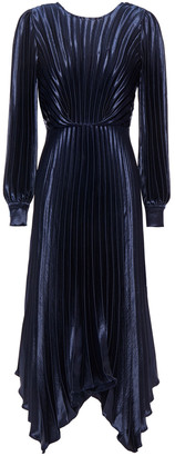 Sandro Asymmetric Pleated Satin-crepe Midi Dress