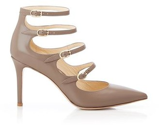 Marion Parke Mitchell Taupe | Leather Strappy Mary Jane Stiletto Pump