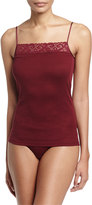 Hanro Moments Lace-Trim Lounge Cami, Red Plum