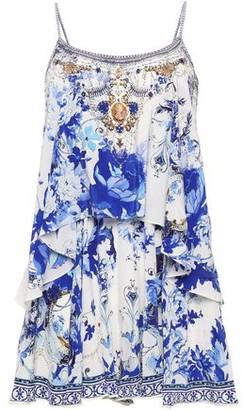 Camilla Saint Germaine Tiered Embellished Silk Crepe De Chine Playsuit