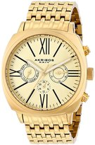 Akribos XXIV Men's AK636YG Retro Swiss Multi-Function Gold-Tone Stainless Steel Pillow-Cut Bracelet Watch