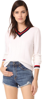 Jenni Kayne Cashmere Rib Cricket V Neck Sweater