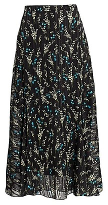Erdem Shea Willow Ditsy Silk Voile Midi Skirt