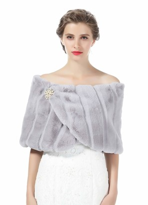 BEAUTELICATE Faux Fur Stole Shawl Womens Shrug Bridal Bridesmaids Wrap Cape for Winter Wedding Evening Party Free Brooch Gray