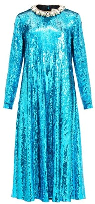 Gucci Crystal-collar Sequined Midi Dress - Blue