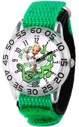 Marvel Guardians of the Galaxy Evergreen Groot Boys' Clear Plastic Time Teacher Watch, Green Hook and Loop Nylon Strap with Black Backing
