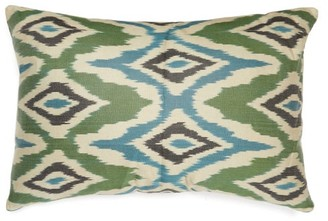 Les Ottomans - Ikat Silk Cushion - Green Multi
