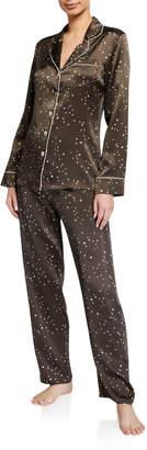 Ginia Orion Dot-Pattern Silk Pajama Set