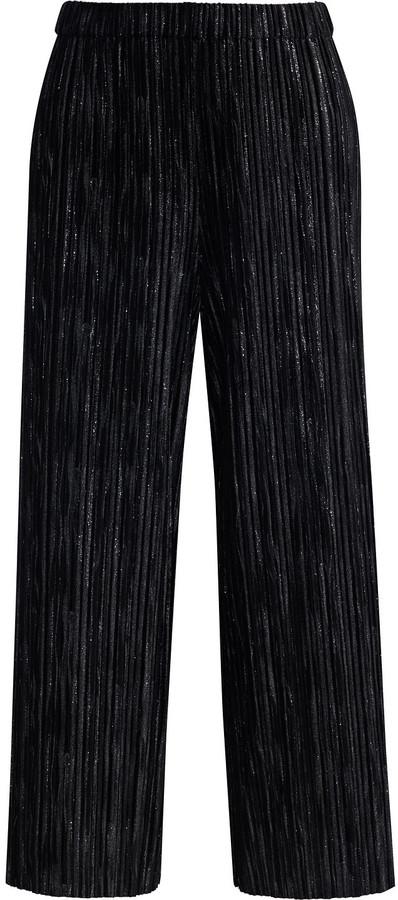 Alice + Olivia Elba Cropped Metallic Plisse Stretch-velvet Wide-leg Pants