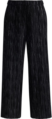 Alice + Olivia Elba Cropped Metallic Plisse Stretch-velvet Wide-leg Pants