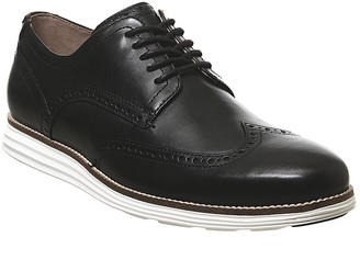 Cole Haan W Original Grand Wingtip Oxford Shoes Black Leather White